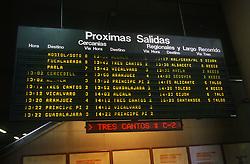 Destinations information board at Atocha railway station; Madrid,