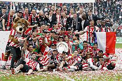 (Top Row L-R) assistant trainer Chris van der Weerden of PSV, goalkeeper trainer Ruud Hesp of PSV, coach Phillip Cocu of PSV, Ruud van Nistelrooij of PSV, Boudewijn Zenden of PSV, assistant trainer Ruud Brood of PSV, Andre Ooijer of PSV<br /><br />(Middle row L-R) Derrick Luckassen of PSV, Albert Gudmundsson of PSV, Mauro Junior of PSV, Daniel Schwaab of PSV, Hirving Lozano of PSV, Luuk de Jong of PSV, Marco van Ginkel of PSV, Jorrit Hendrix of PSV, goalkeeper Jeroen Zoet of PSV, goalkeeper Elroy Room of PSV, Nicolas Isimat-Mirin of PSV<br /><br />(Front row L-R) Gaston Pereiro of PSV, Joshua Brenet of PSV, Bart Ramselaar of PSV, Steven Bergwijn of PSV, Santiago Arias of PSV, Kenneth Paal of PSV, Donyell Malen of PSV with the trophee during the Dutch Eredivisie match between PSV Eindhoven and Ajax Amsterdam at the Phillips stadium on April 15, 2018 in Eindhoven, The Netherlands