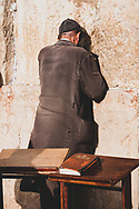 Jerusalem - October 20, 2010: A Jewish man prays at the Western Wall in the Old City of Jerusalem.
