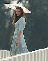 SINGAPORE: The Duke and Duchess of Cambridge visit Kranji Commonwealth War Cemetery, Singapore, as part of their Diamond Jubilee Tour of South East Asia, on the 13th September 2012.