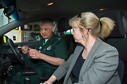 Pictured: Ian Stark and Shona Robison<br /> <br /> Health Secretary Shona Robison met paramedics today on a visit to Scottish Ambulance Service's city station where she announced new funding for the service<br /> Ger Harley   EEm 24 April 2017
