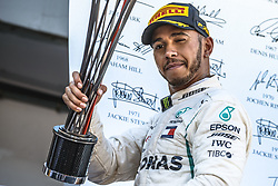 May 13, 2018 - Barcelona, Spain - British driver LEWIS HAMILTON of Mercedes AMG celebrates his victory of the Spanish GP, on the podium at the Circuit de Barcelona-Catalunya. (Credit Image: © Matthias Oesterle via ZUMA Wire)