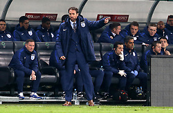 Interim England Manager Gareth Southgate looks frustrated during the 0-0 draw with Slovenia - Mandatory by-line: Robbie Stephenson/JMP - 11/10/2016 - FOOTBALL - RSC Stozice - Ljubljana, England - Slovenia v England - World Cup European Qualifier