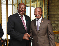MASERU, Feb. 11, 2017  Visiting South African Deputy President Cyril Ramaphosa (L) shakes hands with Lesotho's Prime Minister Pakalitha Mosisili in Maseru, Lesotho, on Feb. 10, 2017. South African Deputy President Cyril Ramaphosa, in his capacity as Southern African Development Community (SADC) facilitator, left for Maseru, Lesotho on Friday to mediate the political conflict in the kingdom.  zxj) (Credit Image: © Xinhua via ZUMA Wire)