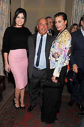 Left to right, DAISY LOWE, SIR PHILIP GREEN and YASMIN LE BON at a party hosted by Justine Picardie, Editor-in-Chief of Harper's Bazaar UK and Glenda Bailey, Editor-in-Chief of Harper's Bazaar US to celebrate the end of London Fashion Week and the biggest-ever March issues of Harper's Bazaar, held at Mark's Club, Charles Street, London on 19th February 2013.