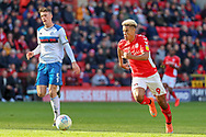 Charlton Athletic attacker Lyle Taylor (9) chasing a through ball during the EFL Sky Bet League 1 match between Charlton Athletic and Rochdale at The Valley, London, England on 4 May 2019.