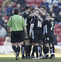 Photo: Aidan Ellis.<br /> Barnsley v Swansea City. Coca Cola League 1. 04/03/2006.<br /> Swansea's Lee Trundle is mobbed after scoring the second goal