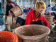 30 APRIL 2013 - MAHACHAI, SAMUT SAKHON, THAILAND:  A Burmese crewman with a pattern of thanaka powder on his face sorts and grades fresh caught mackerel in Mahachai, Samut Sakhon province, Thailand. The Thai fishing industry is heavily reliant on Burmese and Cambodian migrants. Burmese migrants crew many of the fishing boats that sail out of Samut Sakhon and staff many of the fish processing plants in Samut Sakhon, about 45 miles south of Bangkok. Migrants pay as much $700 (US) each to be smuggled from the Burmese border to Samut Sakhon for jobs that pay less than $5.00 (US) per day. There have also been reports that some Burmese workers are abused and held in slavery like conditions in the Thai fishing industry.          PHOTO BY JACK KURTZ