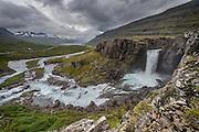 Berufjarðará river and waterfall in East-Iceland.