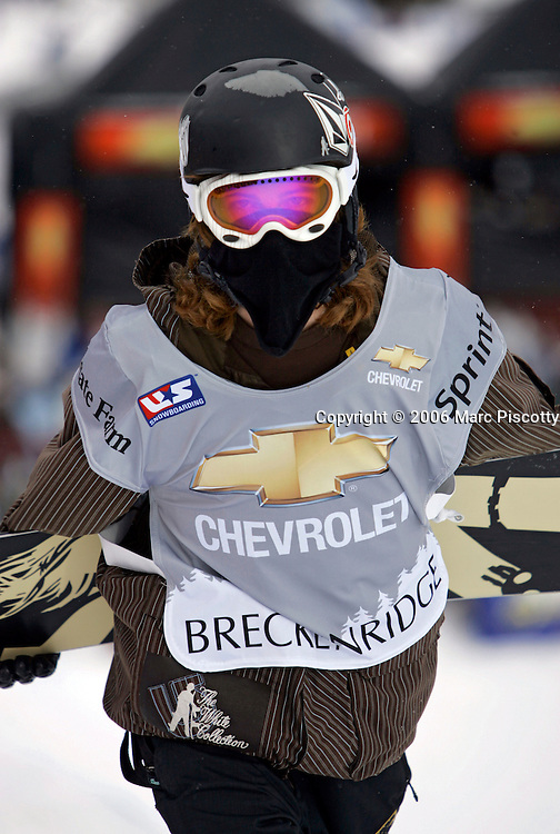 No one was able to stop Shaun White of Carlsbad, Ca. as he took the top spot in both halfpipe finals at the Chevrolet U.S. Snowboard Grand Prix in Breckenridge, Co. Saturday December 17, 2005. The Breckenridge event was the first of three stops in a series that will determine who will make the U.S. Snowboard Team and represent the country in the 2006 Winter Olympics in Torino, Italy. Shaun White of Carlsbad, Ca. won the men's event while Gretchen Bleiler of Snowmass Village, Co. won the women's event. The Grand Prix, now in its 10th year as the premier snowboard series in North America, features a cash purse of $340,000 and a new Chevrolet truck to the overall male and female winner of the series. White won the second event with a score of 47.10 and with the wins is the first member of the U.S. Snowboard Team..(MARC PISCOTTY/ © 2006)