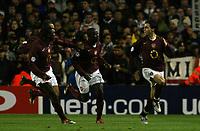 Photo: Chris Ratcliffe.<br /> Arsenal v Juventus. UEFA Champions League. Quarter-Finals. 28/03/2006.<br /> Cesc Fabregas celebrates scoring the opening goal for Arsenal with his team mates