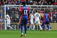 Football - 2016 / 2017 Premier League - Crystal Palace vs. Leicester City<br /> <br /> Robert Huth of Leicester (left) heads his first half goal at Selhurst Park.<br /> <br /> COLORSPORT/ANDREW COWIE