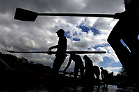Photo: Daniel Hambury.<br />Varsity Boat Race Preview Day. 29/03/2006.<br />The Oxford crew prepare for their afternoon practice.