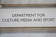 Department for Culture, Media and Sport on Whitehall in London, United Kingdom. The Department for Culture, Media and Sport, DCMS is a department of the UK government, with responsibility for culture and sport in England, and some aspects of the media throughout the whole UK, such as broadcasting and internet. It also has responsibility for the tourism, leisure and creative industries, some joint with Department for Business, Innovation and Skills.