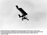 David Kirke flying a microlight during a Dangerous Sports Club Tea party. Given at the Gloucestershire home of the Dutch Ambassador Robbert Fack. 22 August 1981. Film 818196f40<br />© Copyright Photograph by Dafydd Jones<br />66 Stockwell Park Rd. London SW9 0DA<br />Tel 0171 733 0108