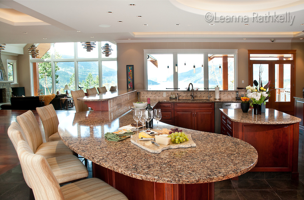 The home of Bryan and Heather Emslie overlooks a picturesque ocean bay on Vancouver Island, BC Canada