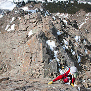 Ben Marshall works his way up a new route on McClellan Mountain in Colorado.