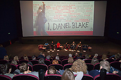 Pictured   <br /> <br /> The Ken Loach film 'I, Daniel Blake' was given a special screening in Edinburgh today in front of  anti-austerity campaigners. The event was arranged by William Black who was joined by the screenwriter, Paul Laverty, Minister for Social Security in Scotland Jeane Freeman, Lewis Akers, member of the Scottish Youth Parliament for Dunfermline, Mikle Valance, ACE and Action Against Poverty, Bill Scott, Inclusion Scotland with Sasha Gallagher afrom Disability History Scotland acting as co-ordinater of the Q&A. <br /> <br /> (c) Ger Harley | Edinburgh Elite media