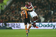 Angelo Ogbonna Obinze of West Ham United elbows Robert Snodgrass of Hull City in the face. Premier league match, West Ham Utd v Hull city at the London Stadium, Queen Elizabeth Olympic Park in London on Saturday 17th December 2016.<br /> pic by John Patrick Fletcher, Andrew Orchard sports photography.