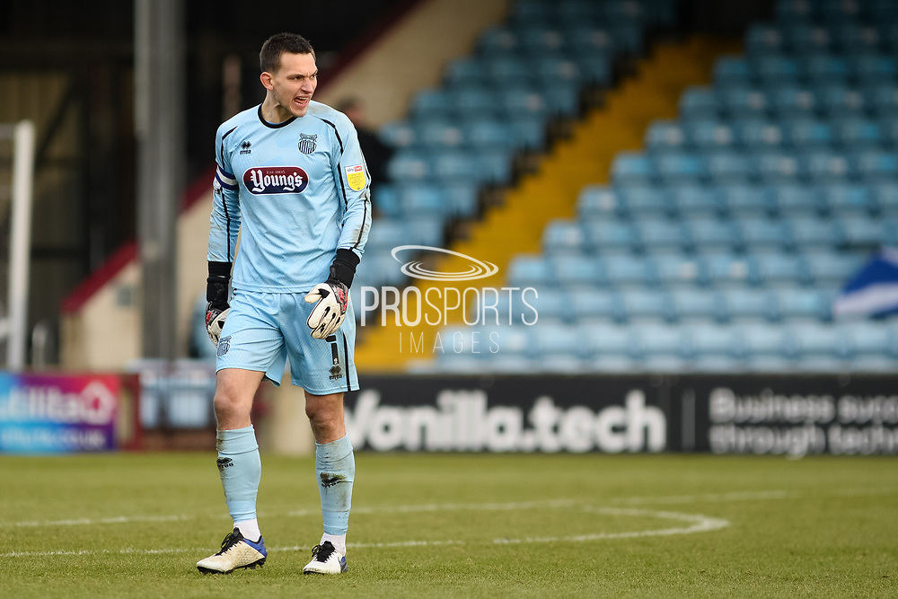 Grimsby Town James McKeown (1) full length portrait, looks frustrated, looks dejected during the EFL Sky Bet League 2 match between Scunthorpe United and Grimsby Town FC at the Sands Venue Stadium, Scunthorpe, England on 23 January 2021.