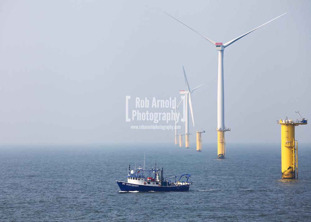 Fugro EMU Survey vessel, RV Discovery, working on the Gwynt y Môr Offshore Wind Farm, off the coast of North Wales.