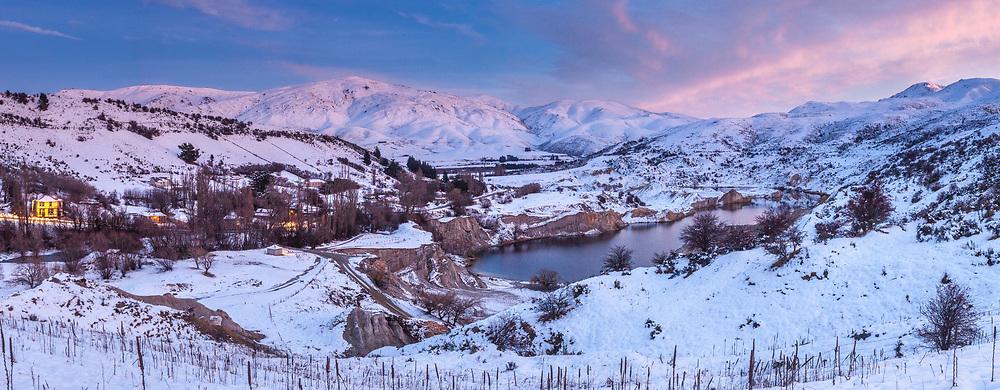Winter dawn panorama above Blue lake, St Bathans