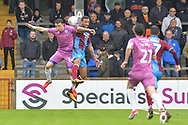 Rochdale midfielder Ollie Rathbone (14) and Scunthorpe United defender James Perch (14) during the EFL Sky Bet League 1 match between Scunthorpe United and Rochdale at Glanford Park, Scunthorpe, England on 8 September 2018. Photo Ian Lyall