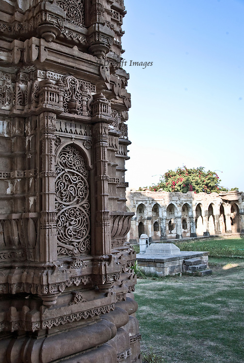 Friday mosque, Champaner-Pavagadh Archaeological Park, view of courtyard and enclosure from entrance porch.  Jain craftsmen applying Jain techniques to Moslem building.