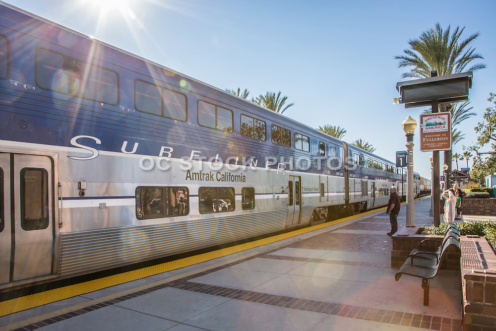 Amtrak California Stopped at Track 1 Waiting Area at Fullerton Train Station