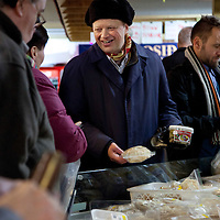 Christmas shoppers buying food at the Kolaportið on December 21, 2013.