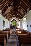 Historic interior of village parish church at Homersfield, Suffolk, England, UK