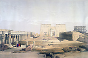 Approach to the Main Temple at Phylae', 1839. Watercolour.  David Roberts (1796-1864) Scottish artist and orientalist. Ancient Egypt Archaeology Religion Mythology Philae