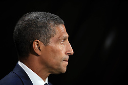 """Brighton & Hove Albion manager Chris Hughton during the Premier League match at the Vitality Stadium, Bournemouth. PRESS ASSOCIATION Photo. Picture date: Friday September 15, 2017. See PA story SOCCER Bournemouth. Photo credit should read: John Walton/PA Wire. RESTRICTIONS: EDITORIAL USE ONLY No use with unauthorised audio, video, data, fixture lists, club/league logos or """"live"""" services. Online in-match use limited to 75 images, no video emulation. No use in betting, games or single club/league/player publications."""