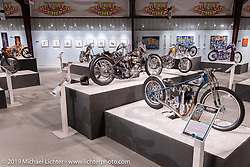 Samuele Reali's Abnormal Cycles' Skinny Oceanblu Franz Langher Tribute Speedway bike from Milan Italy in the What's the Skinny Exhibition (2019 iteration of the Motorcycles as Art annual series) at the Sturgis Buffalo Chip during the Sturgis Black Hills Motorcycle Rally. SD, USA. Thursday, August 8, 2019. Photography ©2019 Michael Lichter.