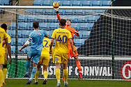 Wimbledon goalkeeper Aaron Ramsdale (35), on loan from Bournemouth, saves during the EFL Sky Bet League 1 match between Coventry City and AFC Wimbledon at the Ricoh Arena, Coventry, England on 12 January 2019.