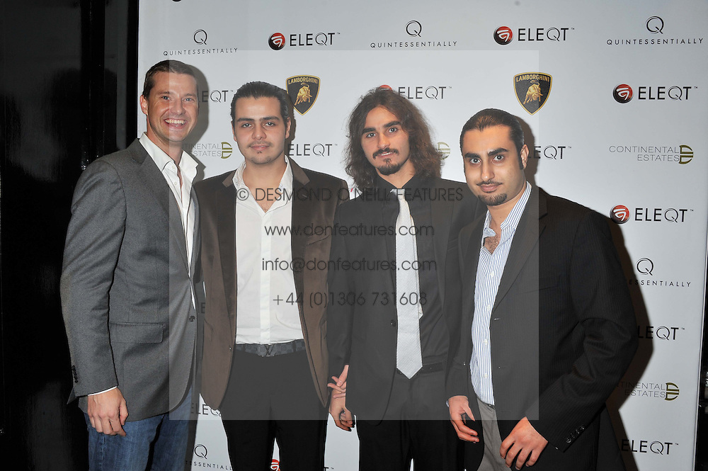 Left to right, Arthur de Groot - Mohammed H. Khashoggi, Hassan H. Khashoggi and Mohammed Khairallah owners of Continental Estates at the ELEQT Global Launch Party held at the Rose club, 23 Orchard Street, London, W1 on 23rd February 2012. ELEQT is the world's most exclusive international luxury lifestyle social network.