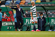 Petit gives instructions to the pitch during the Liga NOS match between Sporting Lisbon and Belenenses SAD at Estadio Jose Alvalade, Lisbon, Portugal on 21 April 2021.