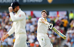 Australia's Steve Smith celebrates his double century during day three of the Ashes Test match at the WACA Ground, Perth.