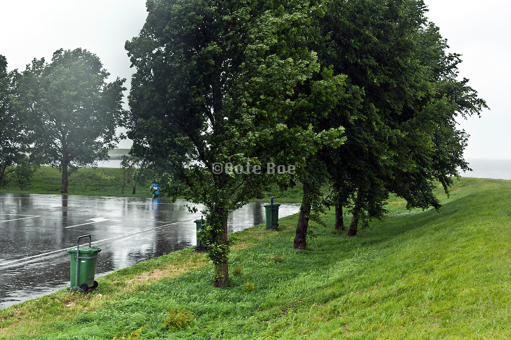 rain downpour at car park bij Ijselmeer Holland