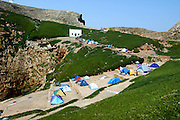 "Camping Park at Berlenga island, a marine reserve and classified by the Council of Europe as a ""Biosphere Reserve"",  is now becoming an environmentally sustainable island from power generation, water, wastewater and solid waste treatment/recycle to reducing pollution at the source. This portuguese atlantic archipelago consists of a large island,  Berlenga Grande, rose granite made, and some small islands and rocks (Estelas and Farilhões), which are situated some 15 km off the headland of Cabo Carvoeiro to the north-west of Peniche, which is about 100 km north of Lisbon  .PHOTO PAULO CUNHA/4SEE"