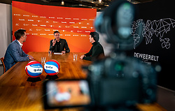 General manager Nevobo Guido Davio, Presenter Etienne Verhoeff,,Tom van Kuyk (sponsor strategist Rabobank) during the talk show of the Dutch volleyball association. The association wants to start a professionalization process with which they want to strengthen recreational sport in the coming years on March 8, 2021 in Utrecht