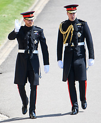© Licensed to London News Pictures. 19/05/2018. London, UK. PRINCE HARRY and PRINCE WILLIAM arrive at The wedding of Prince Harry, The Duke of Sussex to Meghan Markle, The Duchess of Sussex, at St George's Chapel in Windsor. Photo credit: Ben Cawthra/LNP