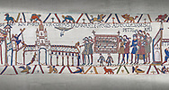 Bayeux Tapestry scene 26 :  Edward The Confessor's Corpes is carried to St Peters Church. .<br /> <br /> If you prefer you can also buy from our ALAMY PHOTO LIBRARY  Collection visit : https://www.alamy.com/portfolio/paul-williams-funkystock/bayeux-tapestry-medieval-art.html  if you know the scene number you want enter BXY followed bt the scene no into the SEARCH WITHIN GALLERY box  i.e BYX 22 for scene 22)<br /> <br />  Visit our MEDIEVAL ART PHOTO COLLECTIONS for more   photos  to download or buy as prints https://funkystock.photoshelter.com/gallery-collection/Medieval-Middle-Ages-Art-Artefacts-Antiquities-Pictures-Images-of/C0000YpKXiAHnG2k