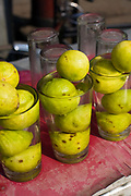 Lemons in a glass on a stall selling cold water in Chadni Chowk, New Delhi, India