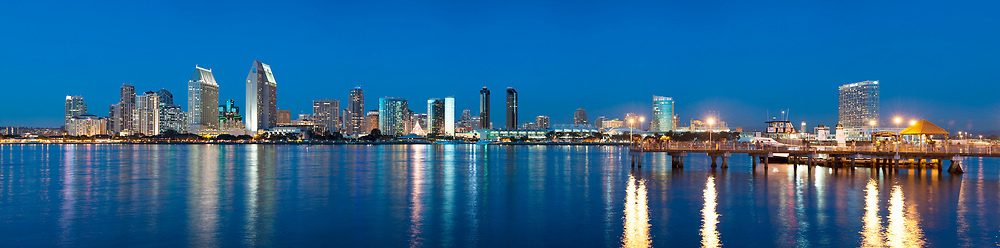 Downtown skyline, twin towers of the Manchester Grand Hyatt on the left. Coronado Ferry Dock and Hilton Hotel on the right. Panoramic available up to 17380 x 4305.