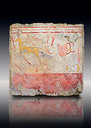 Lucanian fresco tomb painting of a man hunting deer . Paestrum, Andriuolo. Tomb n. 18.  ( 370-360 BC ) .<br /> <br /> If you prefer to buy from our ALAMY PHOTO LIBRARY  Collection visit : https://www.alamy.com/portfolio/paul-williams-funkystock - Scroll down and type - Paestum Fresco - into LOWER search box. {TIP - Refine search by adding a background colour as well}.<br /> <br /> Visit our ANCIENT GREEKS PHOTO COLLECTIONS for more photos to download or buy as wall art prints https://funkystock.photoshelter.com/gallery-collection/Ancient-Greeks-Art-Artefacts-Antiquities-Historic-Sites/C00004CnMmq_Xllw