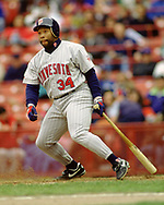 MILWAUKEE - CIRCA 1992:  Kirby Puckett of the Minnesota Twins bats during an MLB game against the Milwaukee Brewers at County Stadium in Milwaukee, Wisconsin during the 1992 season. (Photo by Ron Vesely) Subject:   Kirby Puckett
