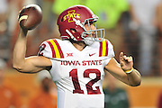 AUSTIN, TX - OCTOBER 18:  Sam B. Richardson #12 of the Iowa State Cyclones drops back to pass against the Texas Longhorns on October 18, 2014 at Darrell K Royal-Texas Memorial Stadium in Austin, Texas.  (Photo by Cooper Neill/Getty Images) *** Local Caption *** Sam B. Richardson