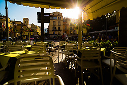 Sorrento, Italy, September 16 2017. as the sun rises a cafe awaits its first customers in Sorrento, Italy. © Paul Davey