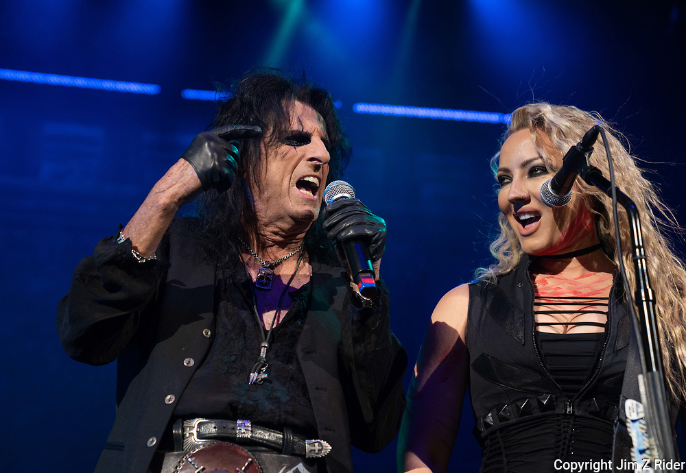 After nearly 19 months off stage, Rock and Roll legend ALICE COOPER, 73, launches his fall 2021 tour at Ocean Casino Resort in Atlantic City, New Jersey.  NITA STRAUSS, right, is a vocalist and plays lead and rhythm guitar.